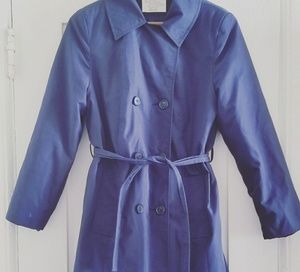 70s Vintage Navy Blue Trench Coat